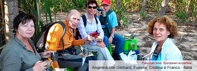 Angelina con Gerhard, Fiorella, Cristina e Franco
